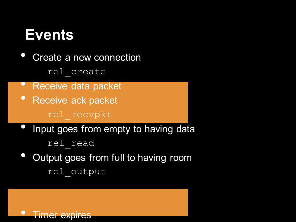 Events Create a new connection rel_create Receive data packet Receive ack packet rel_recvpkt Input goes from empty to having data rel_read Output goes