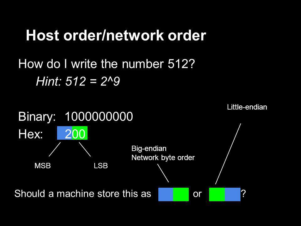 How do I write the number 512? Hint: 512 = 2^9 Binary: 1000000000 Hex: 200 Host order/network order MSBLSB Should a machine store this as or ? Little-