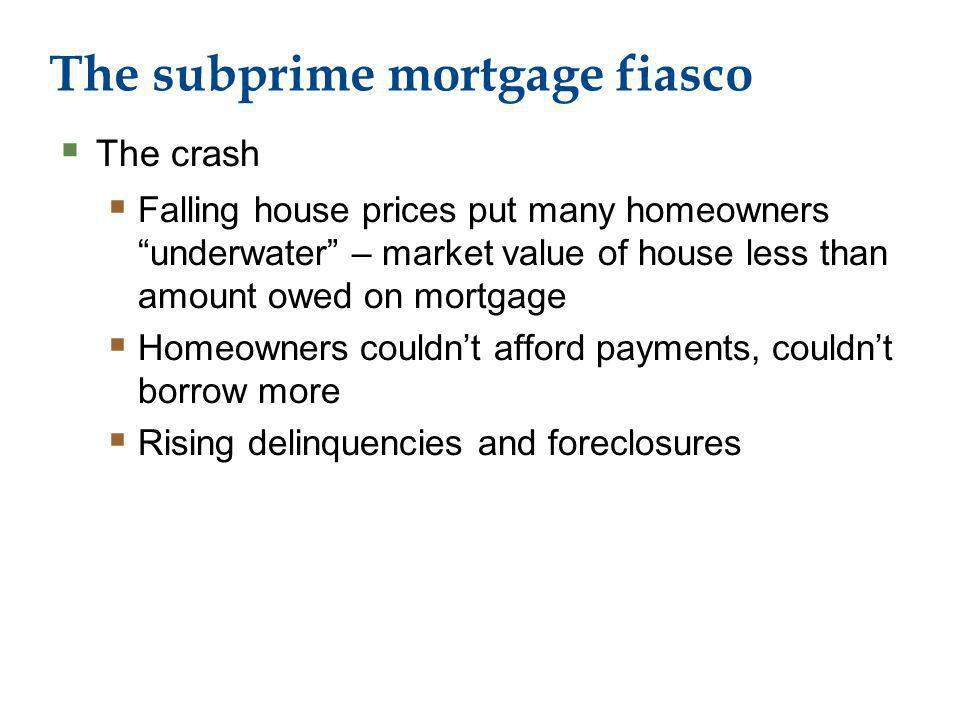 The subprime mortgage fiasco The crash Falling house prices put many homeowners underwater – market value of house less than amount owed on mortgage Homeowners couldnt afford payments, couldnt borrow more Rising delinquencies and foreclosures