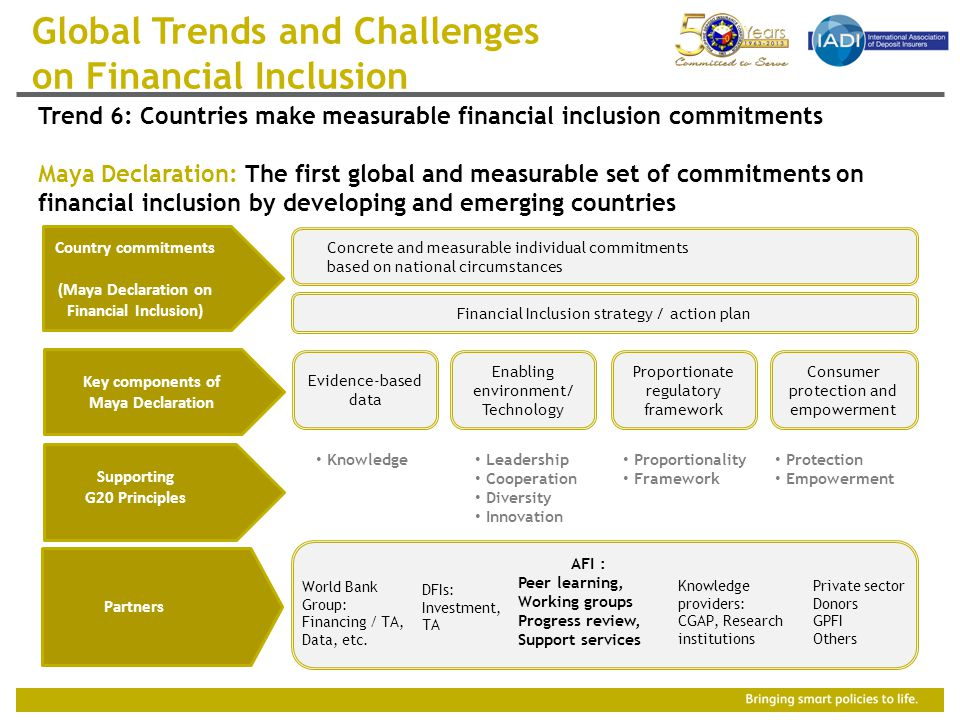 Country commitments (Maya Declaration on Financial Inclusion) Key components of Maya Declaration Financial Inclusion strategy / action plan Supporting G20 Principles Evidence-based data Consumer protection and empowerment Proportionate regulatory framework Enabling environment/ Technology Partners World Bank Group: Financing / TA, Data, etc.