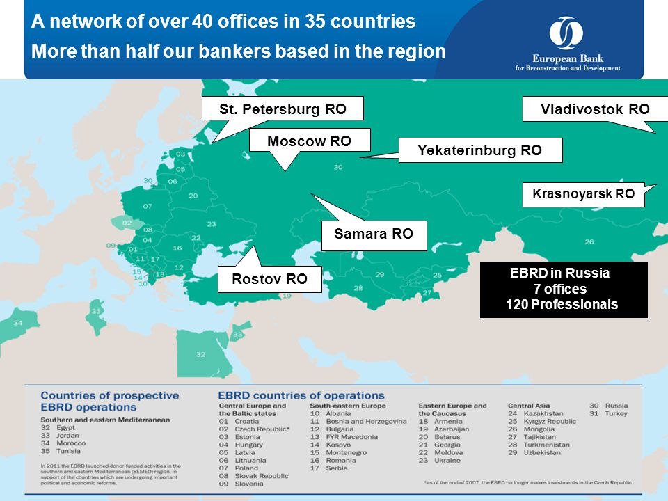 A network of over 40 offices in 35 countries More than half our bankers based in the region St. Petersburg RO Moscow RO Yekaterinburg RO Vladivostok R