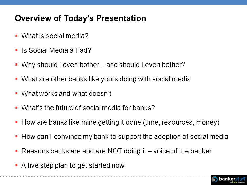 Overview of Todays Presentation What is social media.