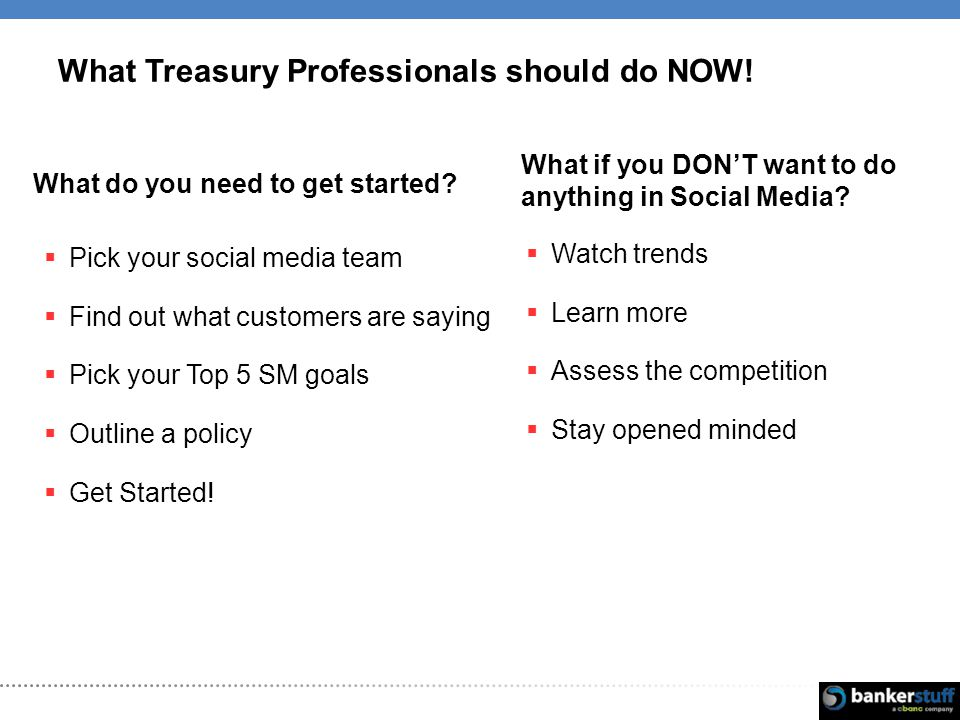 What Treasury Professionals should do NOW. What do you need to get started.