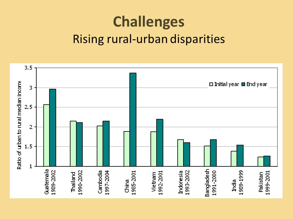 Challenges Rising rural-urban disparities