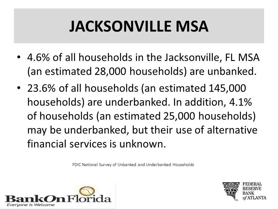 JACKSONVILLE MSA 4.6% of all households in the Jacksonville, FL MSA (an estimated 28,000 households) are unbanked.