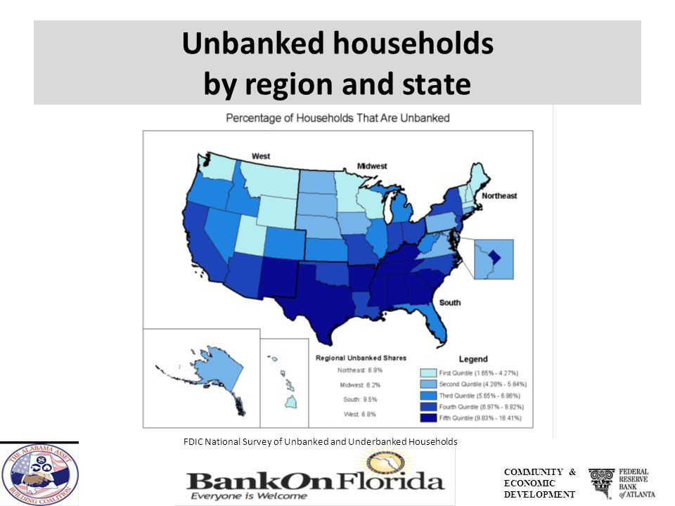 Alabama 11.6% of all households in Alabama (an estimated 222,000 households) are unbanked.