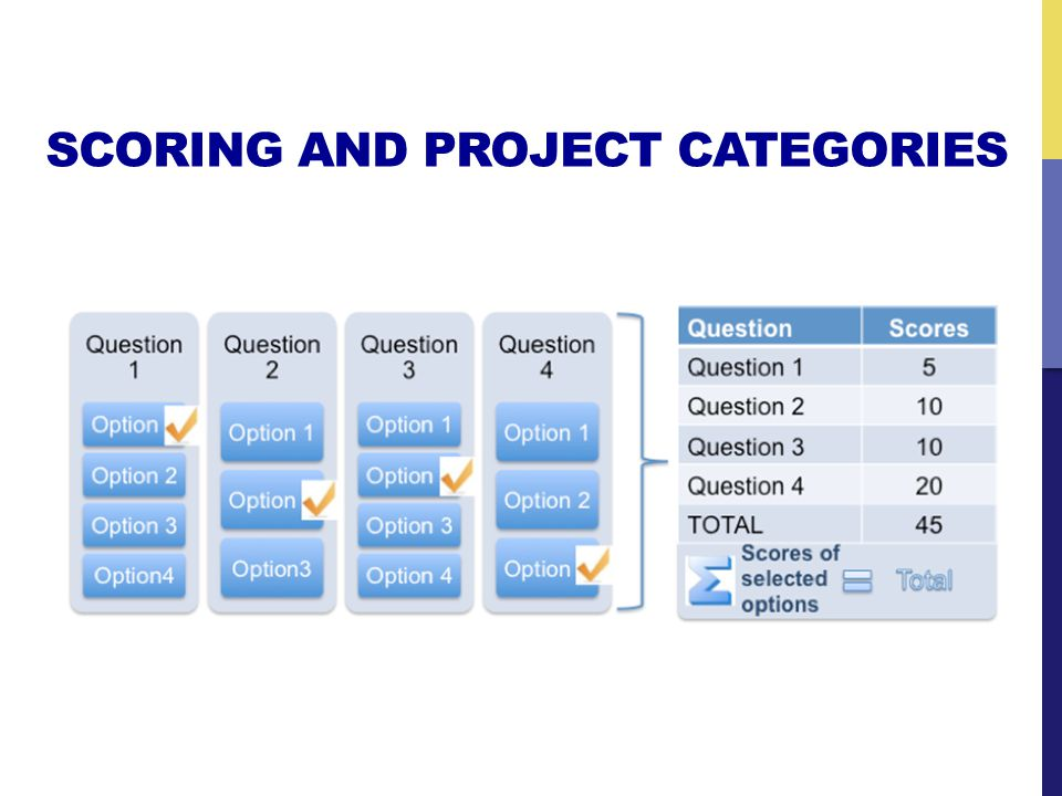 SCORING AND PROJECT CATEGORIES