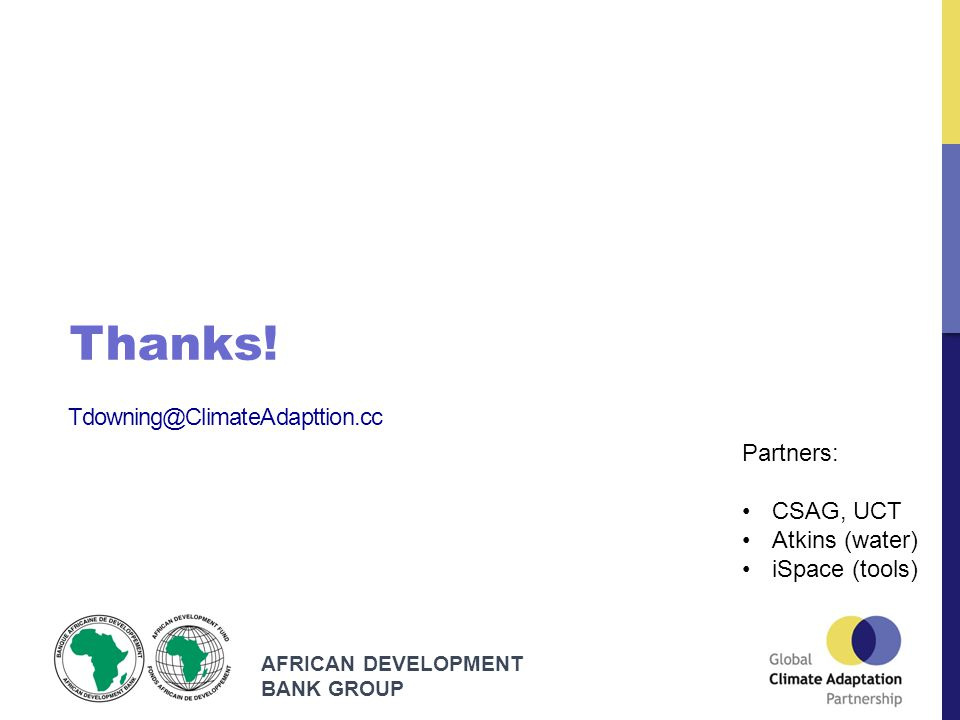AFRICAN DEVELOPMENT BANK GROUP Tdowning@ClimateAdapttion.cc Thanks.