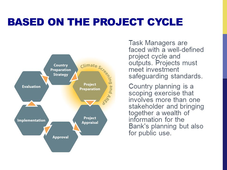 BASED ON THE PROJECT CYCLE Task Managers are faced with a well-defined project cycle and outputs.