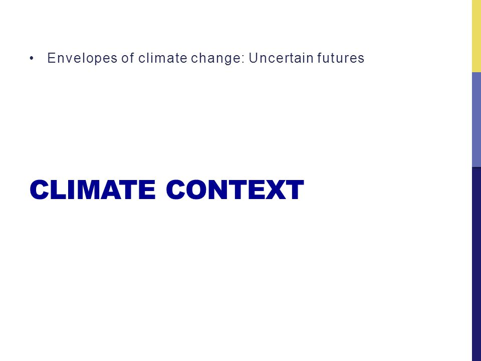CLIMATE CONTEXT Envelopes of climate change: Uncertain futures
