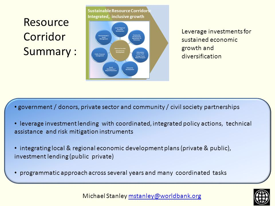 Resource Corridor Summary : government / donors, private sector and community / civil society partnerships leverage investment lending with coordinate