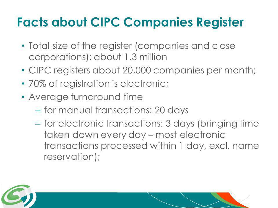 Facts about CIPC Companies Register Total size of the register (companies and close corporations): about 1.3 million CIPC registers about 20,000 companies per month; 70% of registration is electronic; Average turnaround time – for manual transactions: 20 days – for electronic transactions: 3 days (bringing time taken down every day – most electronic transactions processed within 1 day, excl.