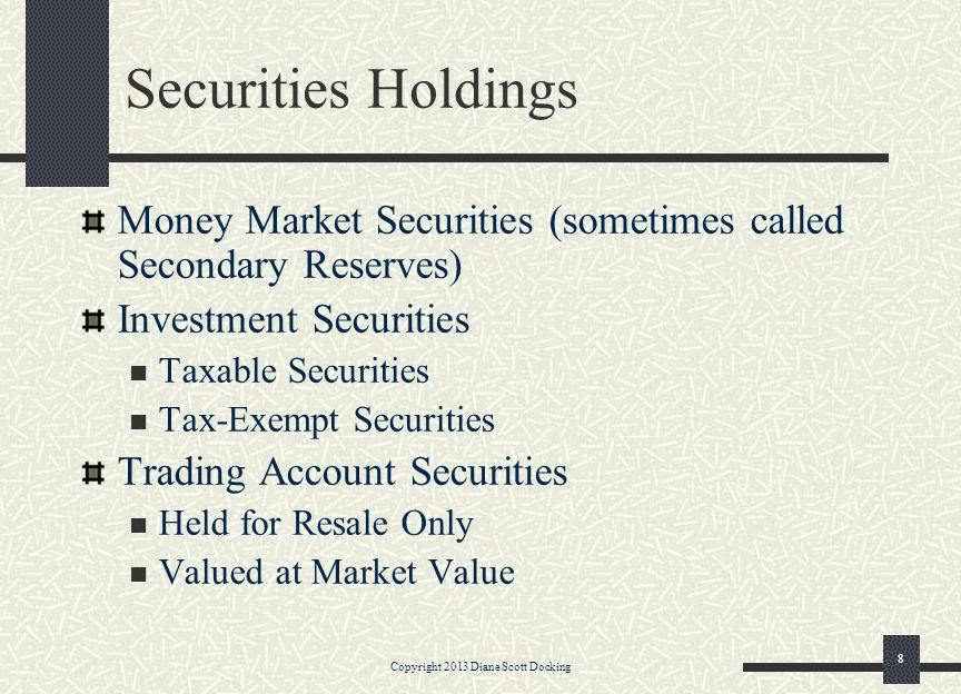 Securities Holdings Money Market Securities (sometimes called Secondary Reserves) Investment Securities Taxable Securities Tax-Exempt Securities Trading Account Securities Held for Resale Only Valued at Market Value Copyright 2013 Diane Scott Docking 8