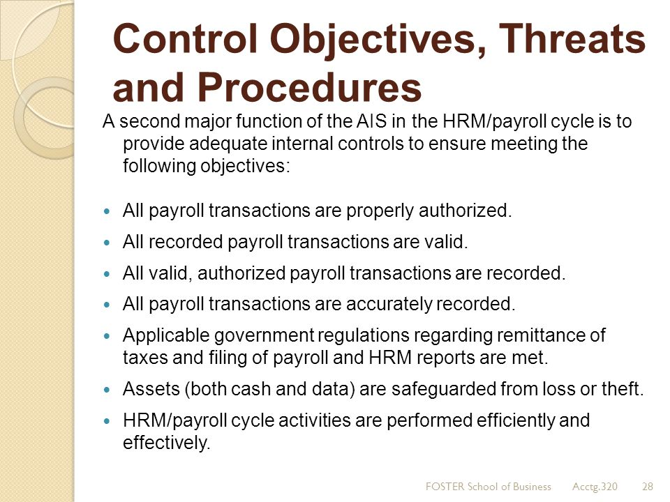 Control Objectives, Threats and Procedures A second major function of the AIS in the HRM/payroll cycle is to provide adequate internal controls to ens