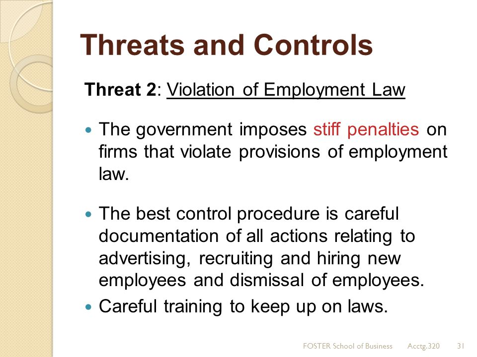 Threats and Controls Threat 2: Violation of Employment Law The government imposes stiff penalties on firms that violate provisions of employment law.