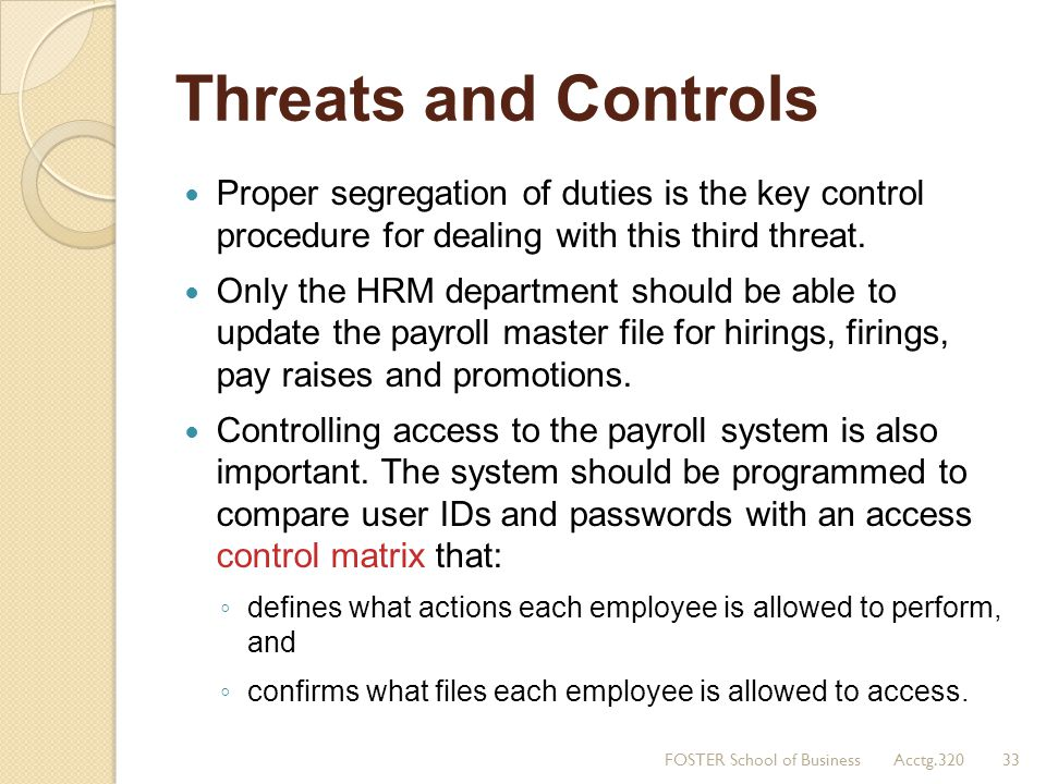 Threats and Controls Proper segregation of duties is the key control procedure for dealing with this third threat. Only the HRM department should be a
