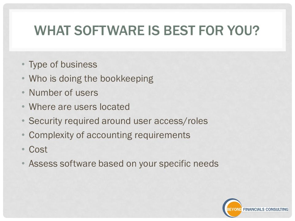 WHAT SOFTWARE IS BEST FOR YOU.