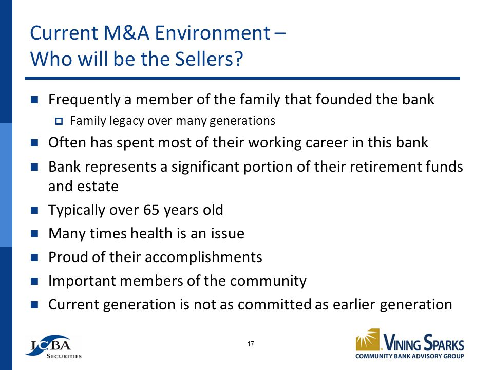 Current M&A Environment – Who will be the Sellers.