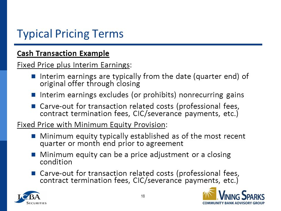 Typical Pricing Terms 18 Cash Transaction Example Fixed Price plus Interim Earnings: Interim earnings are typically from the date (quarter end) of original offer through closing Interim earnings excludes (or prohibits) nonrecurring gains Carve-out for transaction related costs (professional fees, contract termination fees, CIC/severance payments, etc.) Fixed Price with Minimum Equity Provision: Minimum equity typically established as of the most recent quarter or month end prior to agreement Minimum equity can be a price adjustment or a closing condition Carve-out for transaction related costs (professional fees, contract termination fees, CIC/severance payments, etc.)
