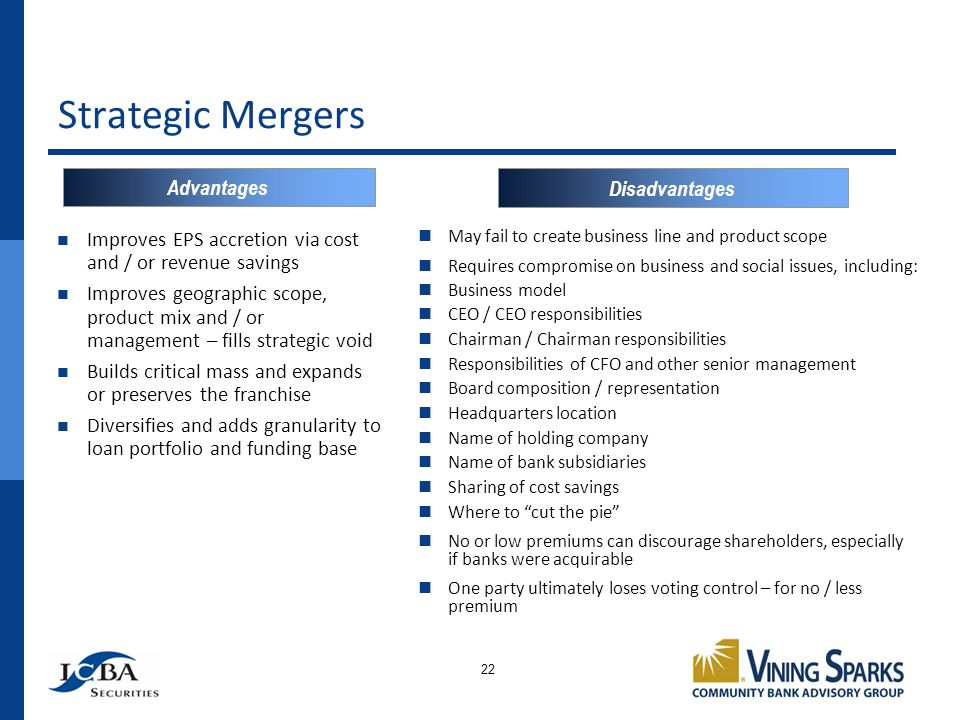 Strategic Mergers 22 Improves EPS accretion via cost and / or revenue savings Improves geographic scope, product mix and / or management – fills strategic void Builds critical mass and expands or preserves the franchise Diversifies and adds granularity to loan portfolio and funding base May fail to create business line and product scope Requires compromise on business and social issues, including: Business model CEO / CEO responsibilities Chairman / Chairman responsibilities Responsibilities of CFO and other senior management Board composition / representation Headquarters location Name of holding company Name of bank subsidiaries Sharing of cost savings Where to cut the pie No or low premiums can discourage shareholders, especially if banks were acquirable One party ultimately loses voting control – for no / less premium Advantages Disadvantages