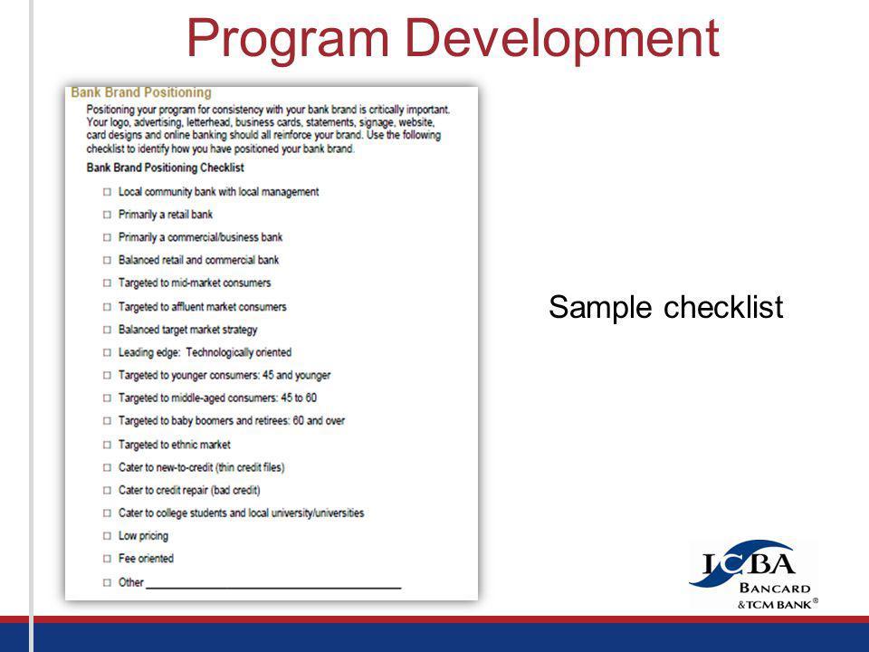 Sample checklist Program Development