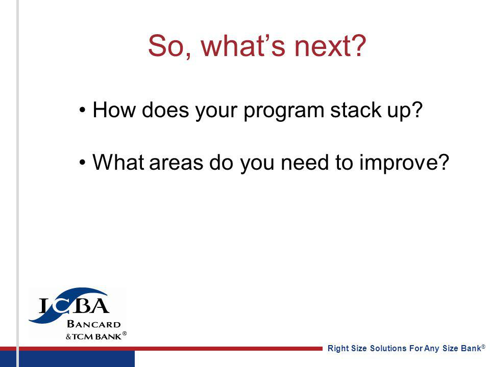 Right Size Solutions For Any Size Bank ® So, whats next? How does your program stack up? What areas do you need to improve?