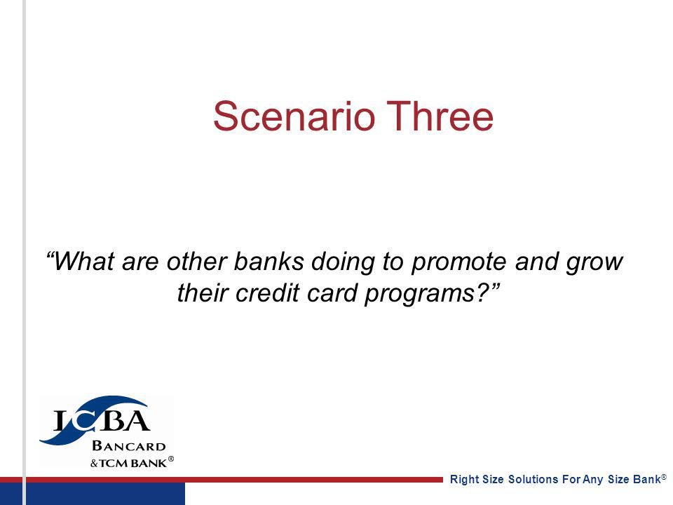 Right Size Solutions For Any Size Bank ® Scenario Three What are other banks doing to promote and grow their credit card programs?