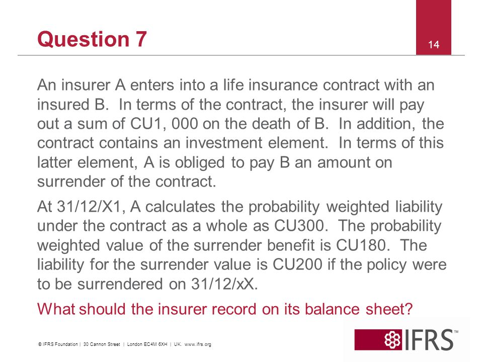 Question 7 An insurer A enters into a life insurance contract with an insured B.