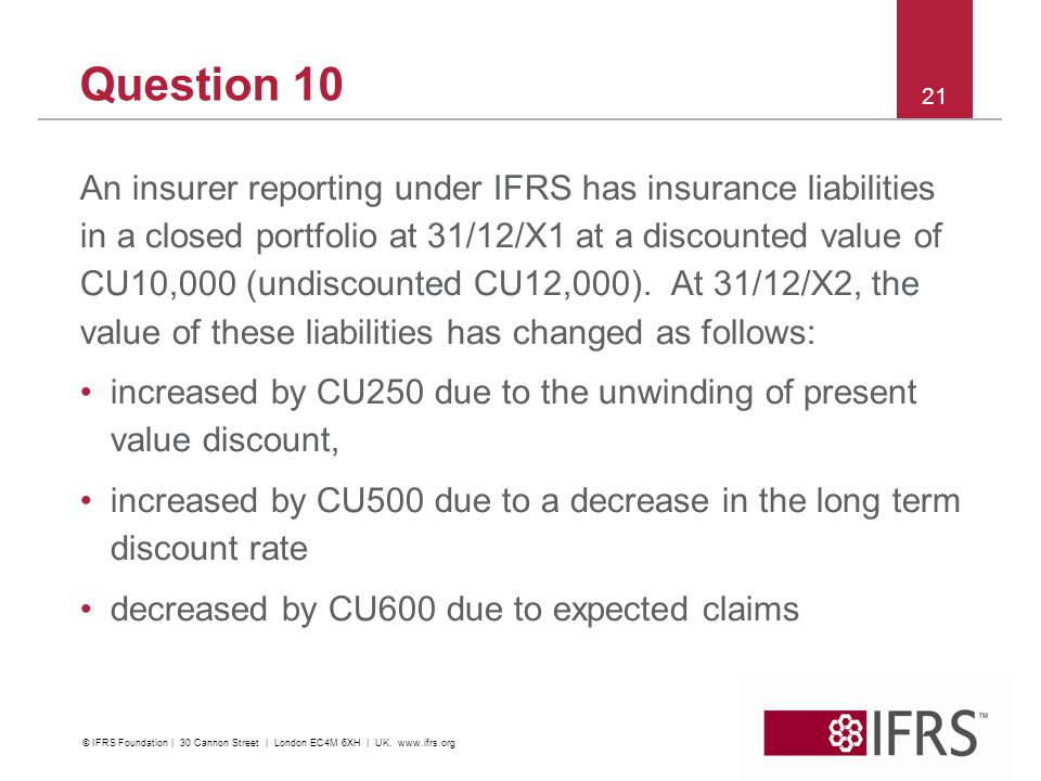 Question 10 An insurer reporting under IFRS has insurance liabilities in a closed portfolio at 31/12/X1 at a discounted value of CU10,000 (undiscounted CU12,000).