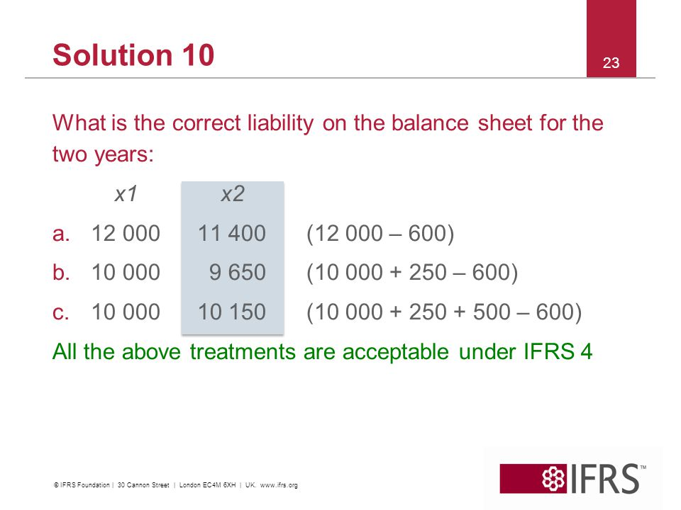 Solution 10 What is the correct liability on the balance sheet for the two years: x1x2 a.12 000 11 400(12 000 – 600) b.10 000 9 650(10 000 + 250 – 600) c.10 00010 150(10 000 + 250 + 500 – 600) All the above treatments are acceptable under IFRS 4 23 © IFRS Foundation | 30 Cannon Street | London EC4M 6XH | UK.