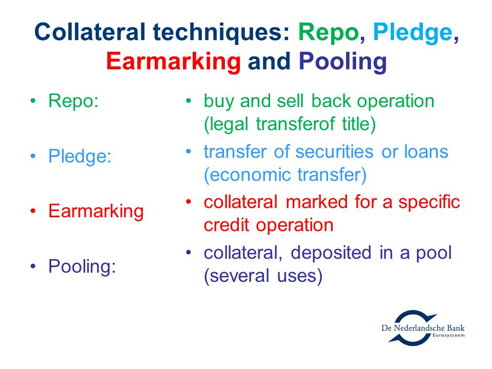 Questions What is the difference between pool/pledge and repo/earmarking.