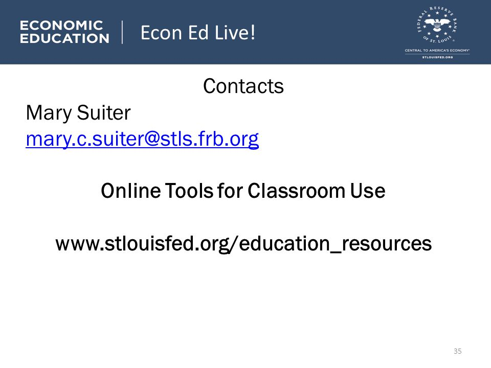 Contacts Mary Suiter mary.c.suiter@stls.frb.org Online Tools for Classroom Use www.stlouisfed.org/education_resources Econ Ed Live.