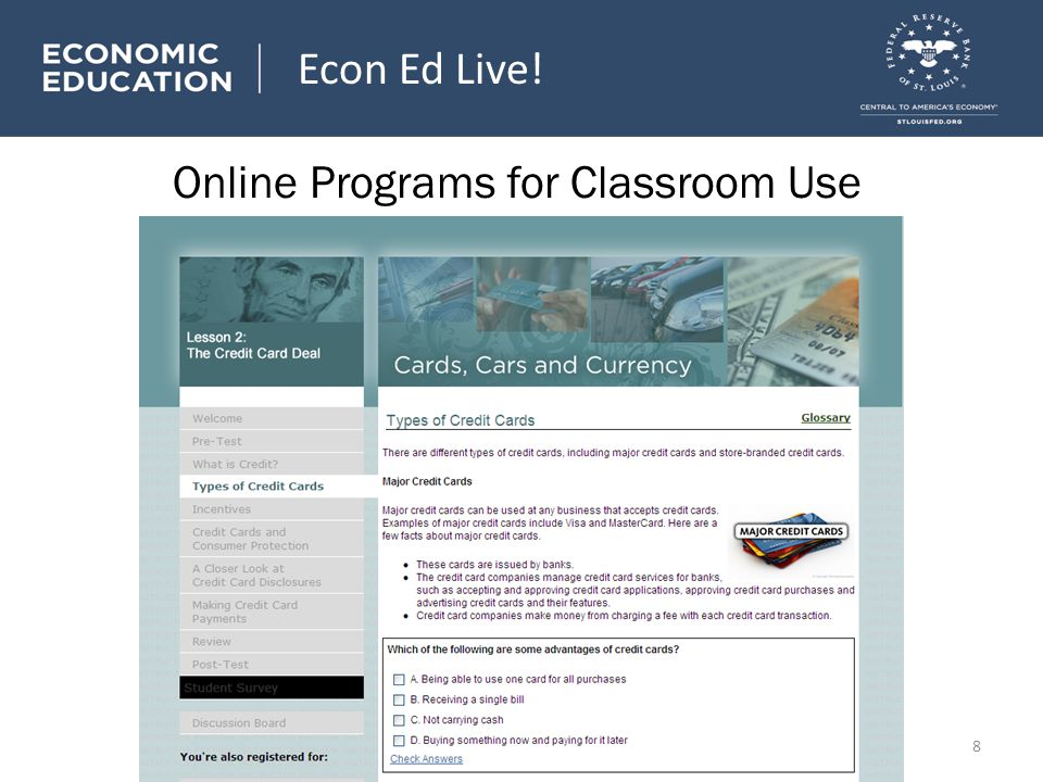 Online Programs for Classroom Use Econ Ed Live! 8