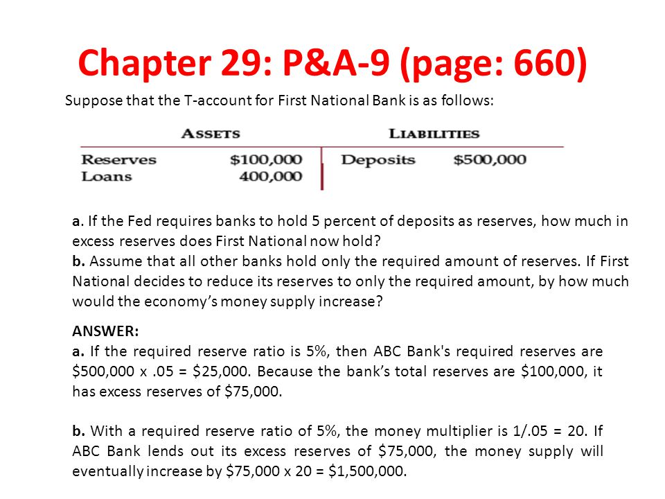Chapter 29: P&A-9 (page: 660) Suppose that the T-account for First National Bank is as follows: a.