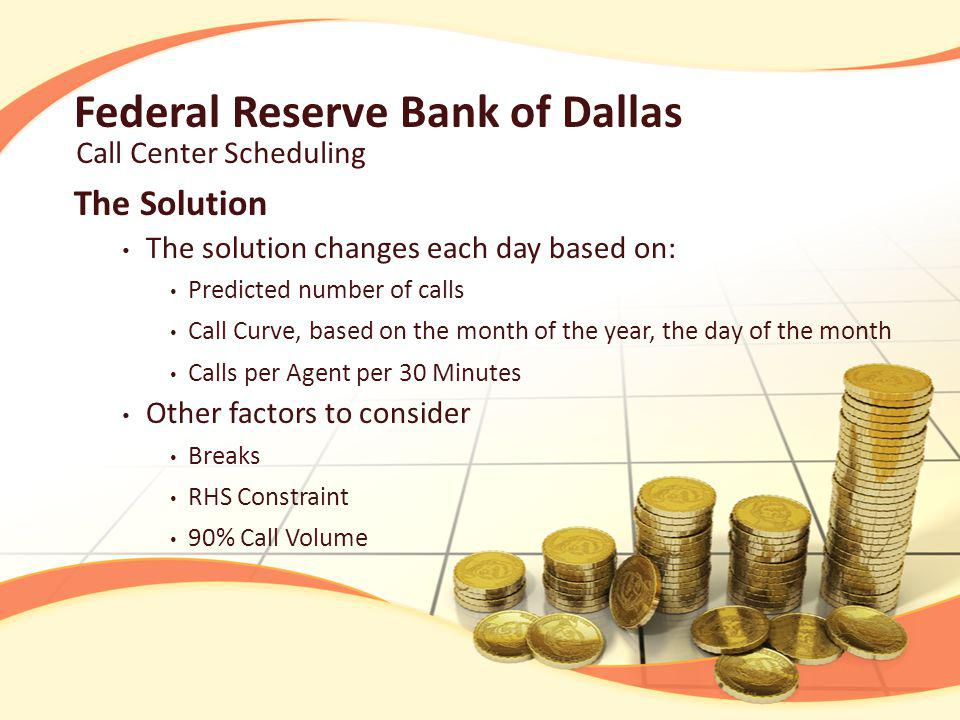 Federal Reserve Bank of Dallas The Solution The solution changes each day based on: Predicted number of calls Call Curve, based on the month of the year, the day of the month Calls per Agent per 30 Minutes Other factors to consider Breaks RHS Constraint 90% Call Volume Call Center Scheduling