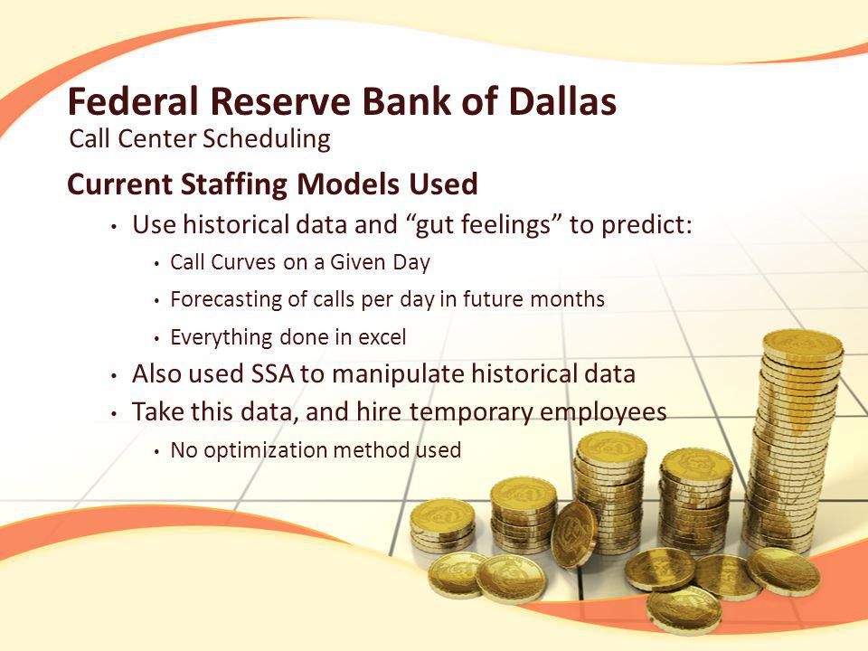 Federal Reserve Bank of Dallas Call Center Scheduling Monthly Call curve is downward sloping Peaks on Wednesdays and Thursday when pamphlets are sent Daily Calls peak between 10:00 AM and 4:00 PM