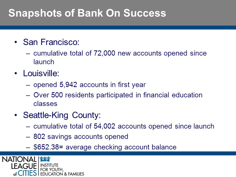 Snapshots of Bank On Success San Francisco: –cumulative total of 72,000 new accounts opened since launch Louisville: –opened 5,942 accounts in first year –Over 500 residents participated in financial education classes Seattle-King County: –cumulative total of 54,002 accounts opened since launch –802 savings accounts opened –$652.38= average checking account balance