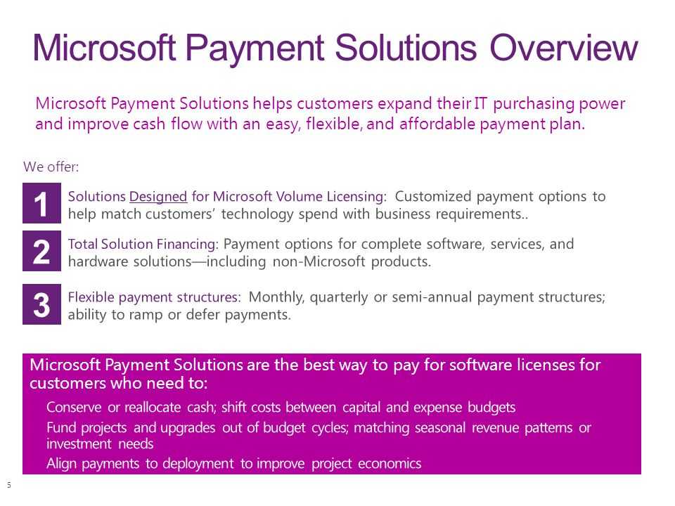 Microsoft Payment Solutions Overview Microsoft Payment Solutions helps customers expand their IT purchasing power and improve cash flow with an easy,