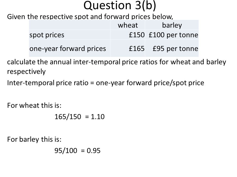 Question 3(b) Given the respective spot and forward prices below, calculate the annual inter-temporal price ratios for wheat and barley respectively Inter-temporal price ratio = one-year forward price/spot price For wheat this is: 165/150 = 1.10 For barley this is: 95/100 = 0.95 wheatbarley spot prices£150£100 per tonne one-year forward prices£165£95 per tonne