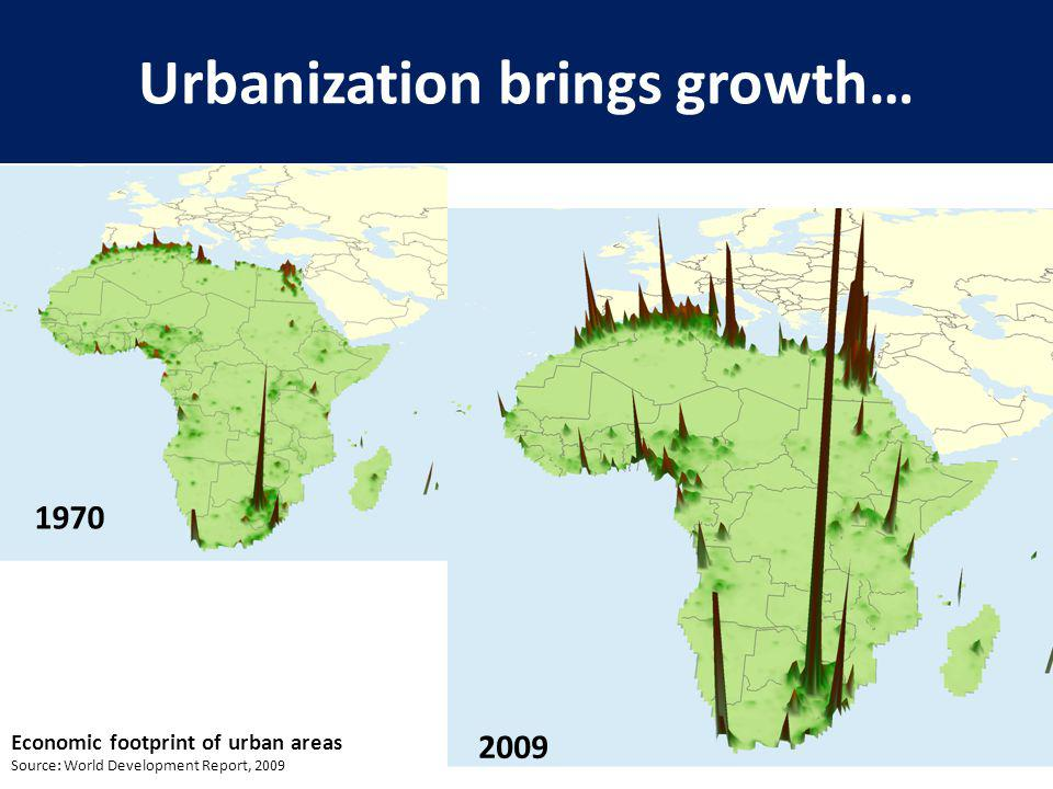 Urbanization brings growth… 7 Economic footprint of urban areas Source: World Development Report, 2009 1970 2009