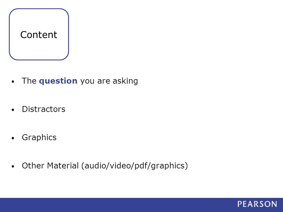 The question you are asking Distractors Graphics Other Material (audio/video/pdf/graphics) Content