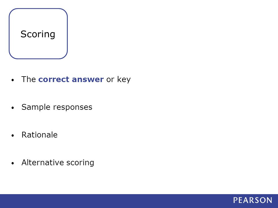 The correct answer or key Sample responses Rationale Alternative scoring Scoring