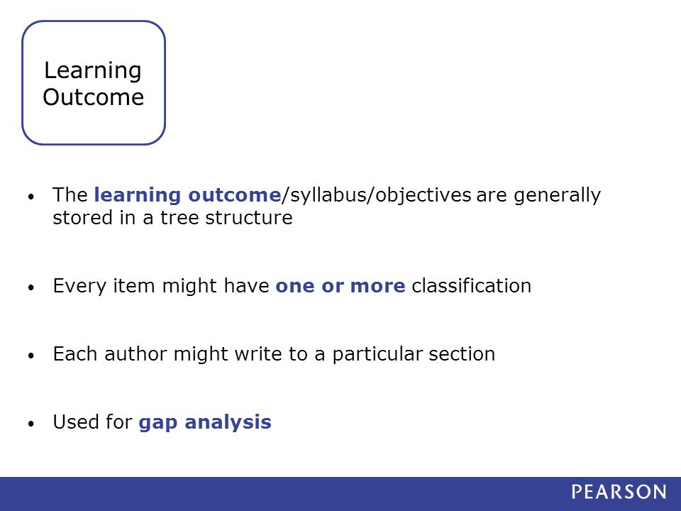 The learning outcome/syllabus/objectives are generally stored in a tree structure Every item might have one or more classification Each author might write to a particular section Used for gap analysis Learning Outcome