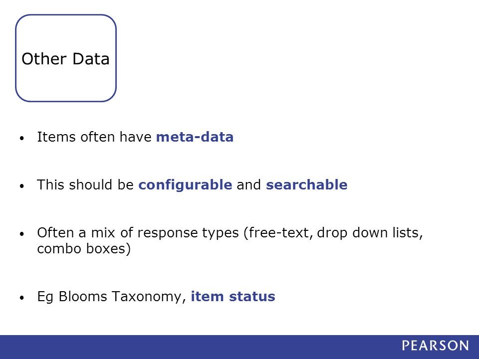 Items often have meta-data This should be configurable and searchable Often a mix of response types (free-text, drop down lists, combo boxes) Eg Blooms Taxonomy, item status Other Data