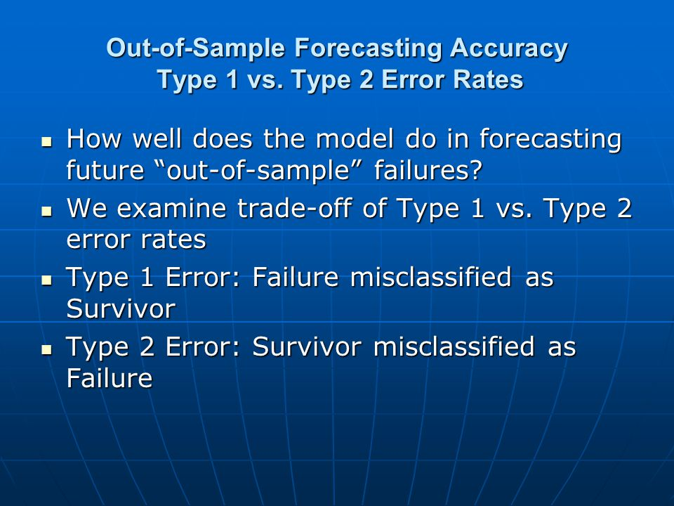 Out-of-Sample Forecasting Accuracy Type 1 vs. Type 2 Error Rates How well does the model do in forecasting future out-of-sample failures? How well doe