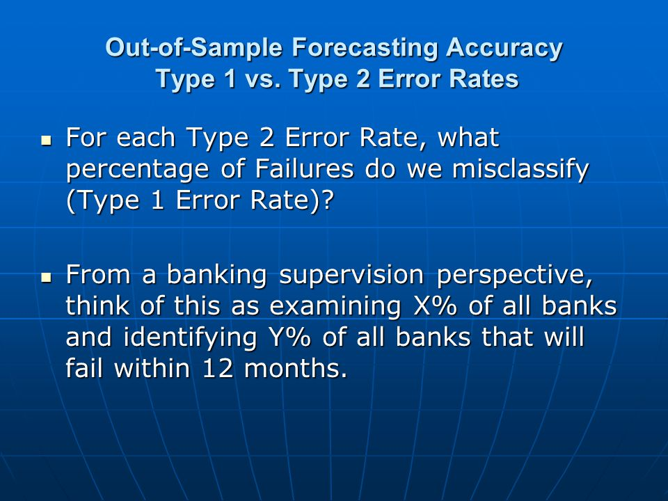 Out-of-Sample Forecasting Accuracy Type 1 vs.
