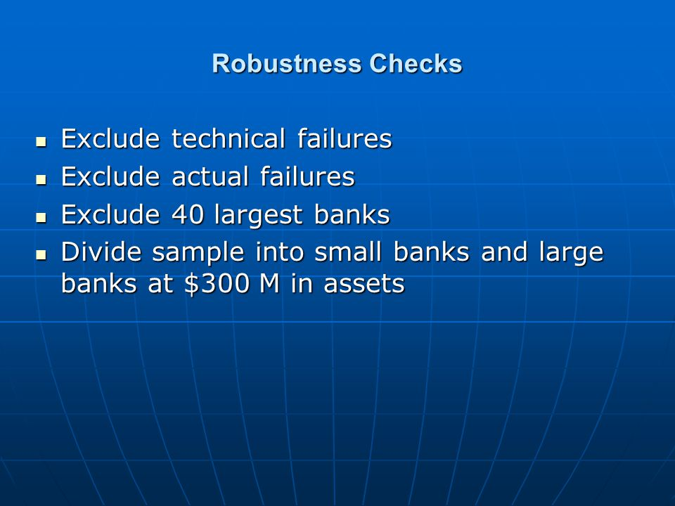 Robustness Checks Exclude technical failures Exclude technical failures Exclude actual failures Exclude actual failures Exclude 40 largest banks Exclu