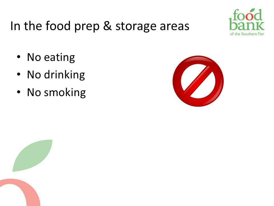 In the food prep & storage areas No eating No drinking No smoking