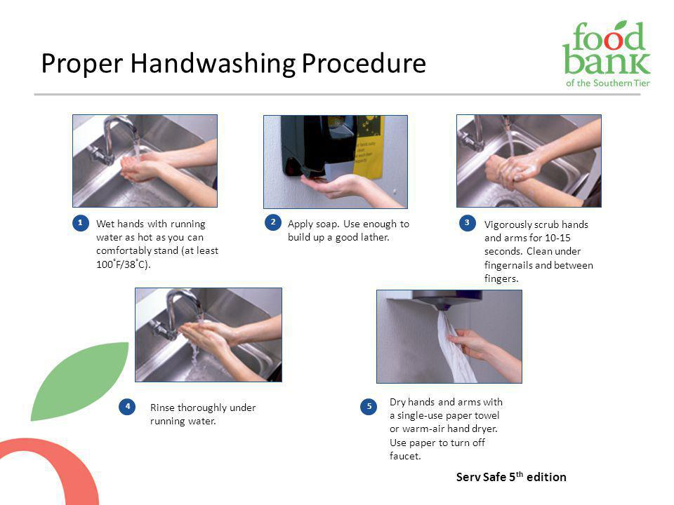 Proper Handwashing Procedure Wet hands with running water as hot as you can comfortably stand (at least 100 ° F/38 ° C). 1 Apply soap. Use enough to b