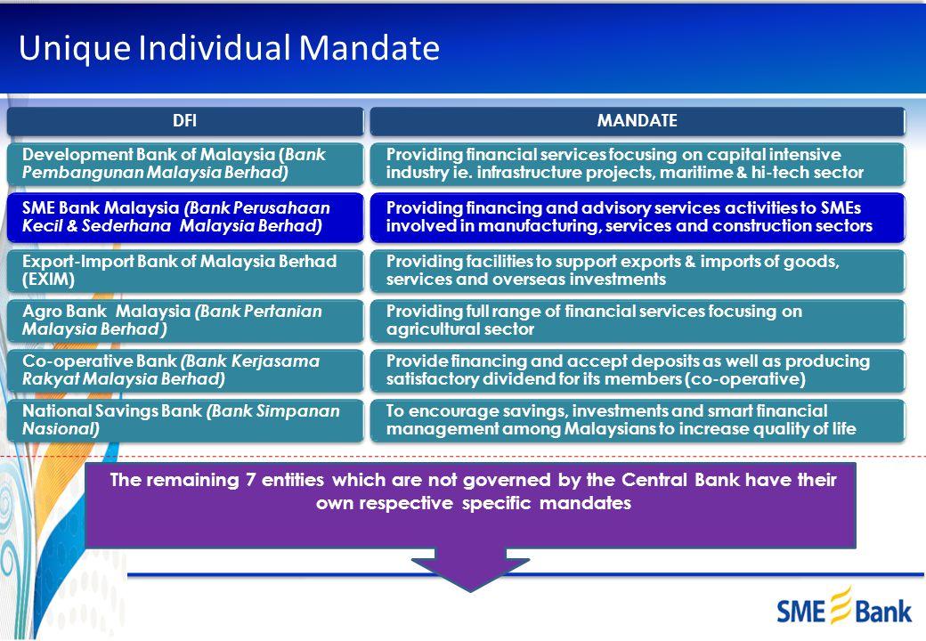 Unique Individual Mandate DFIMANDATE Development Bank of Malaysia ( Bank Pembangunan Malaysia Berhad) Providing financial services focusing on capital